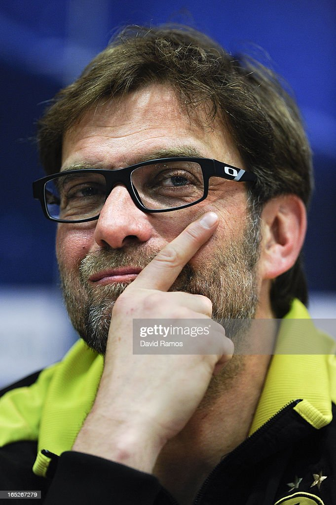 Coach Jurgen Klopp of Borussia Dortmund faces the media during a press conference ahead of the UEFA Champions League quarter-final first leg match against Malaga CF at La Rosaleda Stadium on April 2, 2013 in Malaga, Spain.