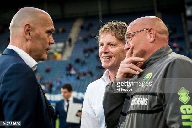 coach Jurgen Streppel of sc Heerenveen coach Alfons Fons Groenendijk of ADO Den Haag Dirk Heesen during the Dutch Eredivisie match between sc...
