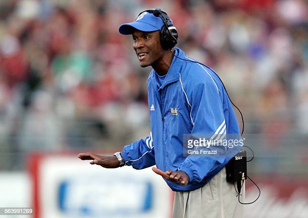 UCLA coach Karl Dorrell argues a penalty call against the Bruins during the 27–7 loss to Wash St at Martin Stadium at Washington State University in...