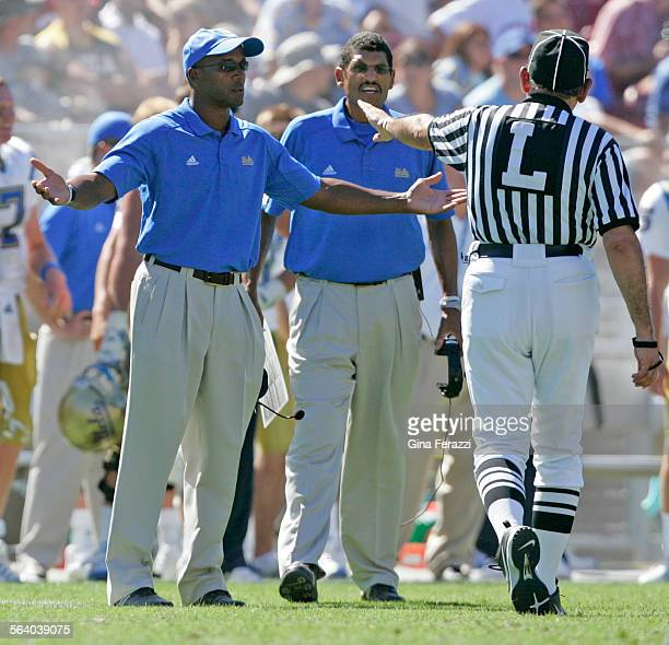 UCLA coach Karl Dorrell disputes an intentional grounding call on quarterback Ben Olson against Stanford at Stanford University in Palo Alto Sept 1...
