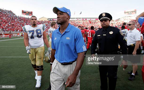 UCLA coach Karl Dorrell leaves the field after losing to Utah 44–6 at Rice–Eccles Stadium in Utah Saturday Sept 15 2007