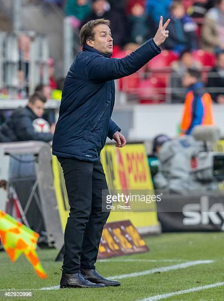 coach Kasper Hjulmand of FSV Mainz 05 gives instructions during the game between FSV Mainz and Hertha BSC on february 7 2015 in Mainz Germany