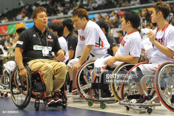 Coach Kazuyuki Kyoya of Japan is seen during the Wheelchair Basketball World Challenge Cup third place match between Turkey and Japan at the Tokyo...