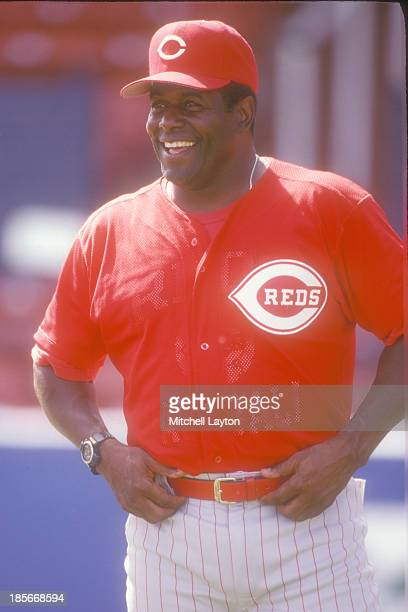 Coach Ken Griffey Sr #33 of the Cincinnati Reds looks on during a spring training workout at on February 23 1997 at Plant City Stadium in Plant City...