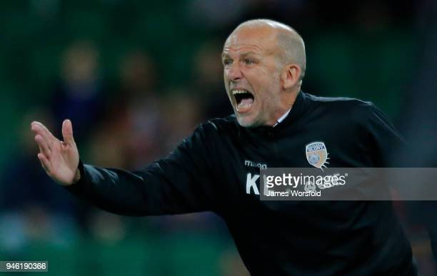 Coach Kenny Lowe of the Perth Glory encourages his players during the round 27 ALeague match between the Perth Glory and the Brisbane Roar at nib...