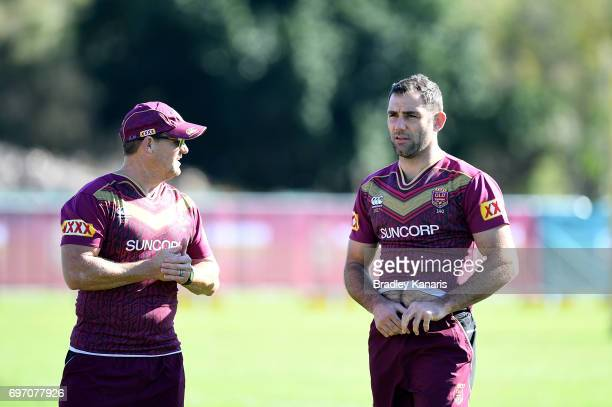 Coach Kevin Walters and Cameron Smith chat during a Queensland Maroons training session at Sanctuary Cove Resort on June 18 2017 at the Gold Coast...