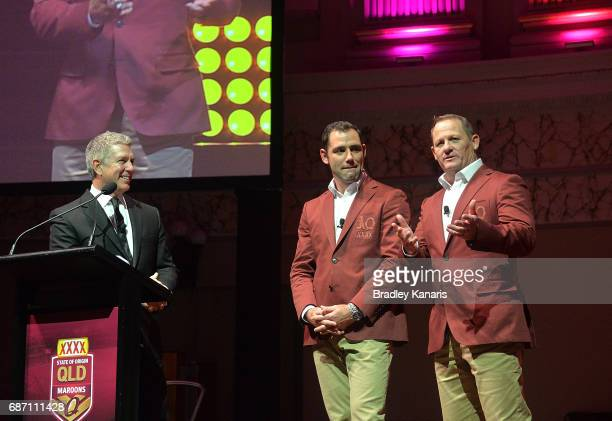 Coach Kevin Walters and team captain Cameron Smith speak during the Queensland Maroons State of Origin official launch at the Brisbane City Town Hall...