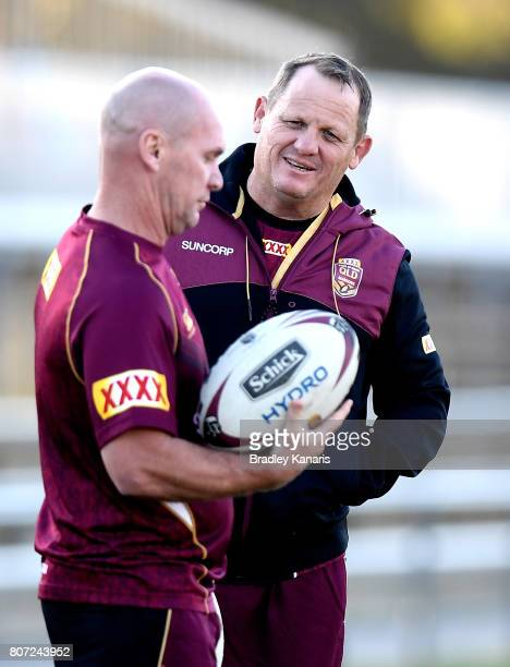 Coach Kevin Walters chats with Assistant Allan Langer during a Queensland Maroons State of Origin training session at Langlands Park on July 4 2017...