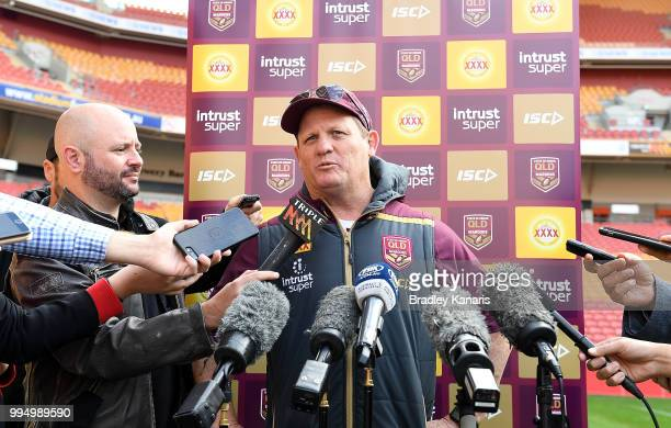 Coach Kevin Walters speaks to media before the Queensland Maroons State of Origin Captain's Run at Suncorp Stadium on July 10 2018 in Brisbane...