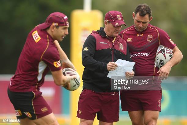 Coach Kevin Walters talks to Cameron Smith during a Queensland Maroons State of Origin training session at Intercontinental Sanctuary Cove Resort on...