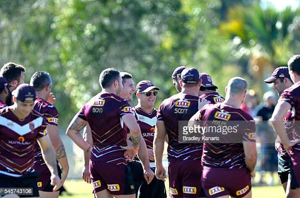 Coach Kevin Walters talks to his players during a Queensland Maroons State of Origin training session on July 10 2016 at the Gold Coast Australia