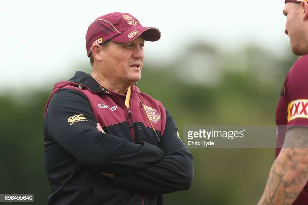Coach Kevin Walters talks to players during a Queensland Maroons State of Origin training session at Intercontinental Sanctuary Cove Resort on June...