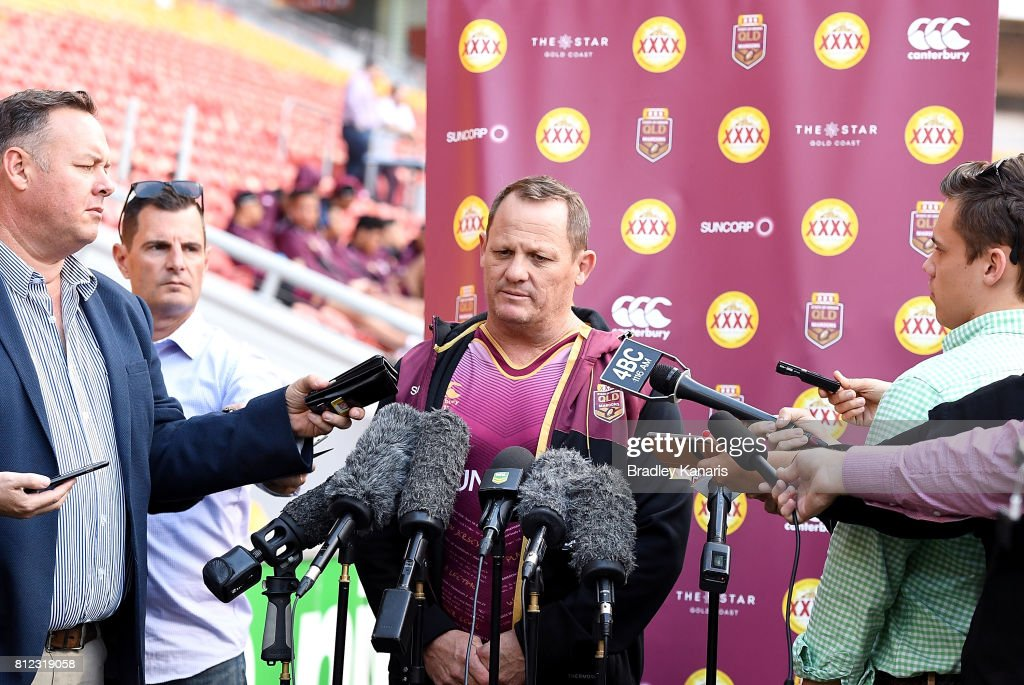 Coach Kevin Walters talks to the media during a Queensland Maroons State of Origin training session at Suncorp Stadium on July 11, 2017 in Brisbane, Australia.