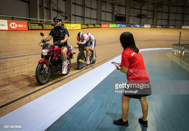 Coach Kyleigh Manners of 42 Degree Coaching moto paces Kee Meng and Steve Tee of the Singapore Cycling Team who have been training at the Geraint...