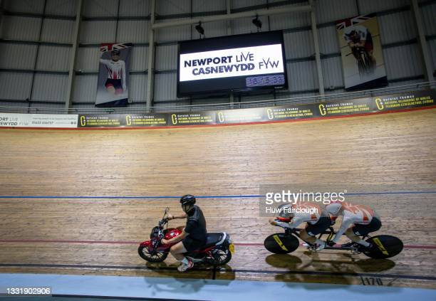 Coach Kyleigh Manners of 42 Degree moto paces Kee Meng and Steve Tee of the Singapore Cycling Team who have been training at the Geraint Thomas...