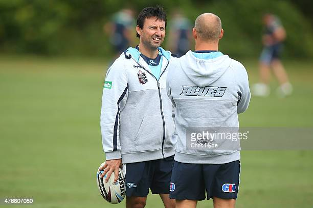 Coach Laurie Daley and assistant coach Nathan Brown talk during the New South Wales Blues State of Origin team training session at the Novotel on...