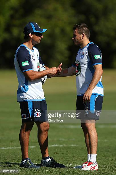 Coach Laurie Daley and Josh Reynolds talk during a New South Wales Blues State of Origin training session at Novotel Coffs Harbour on May 21 2014 in...