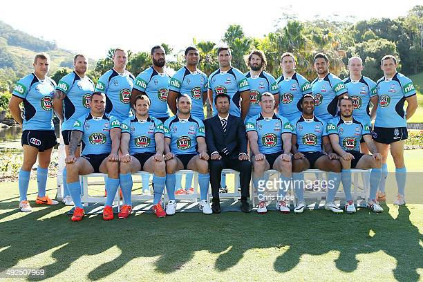 Coach Laurie Daley and players pose for the New South Wales Blues State of Origin official team photo at Novotel Coffs Harbour on May 21 2014 in...
