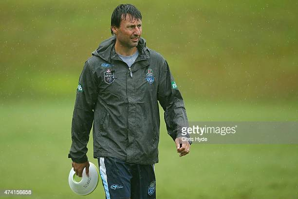 Coach Laurie Daley looks on during a New South Wales Blues State of Origin training session at Novotel Coffs Harbour on May 21 2015 in Coffs Harbour...