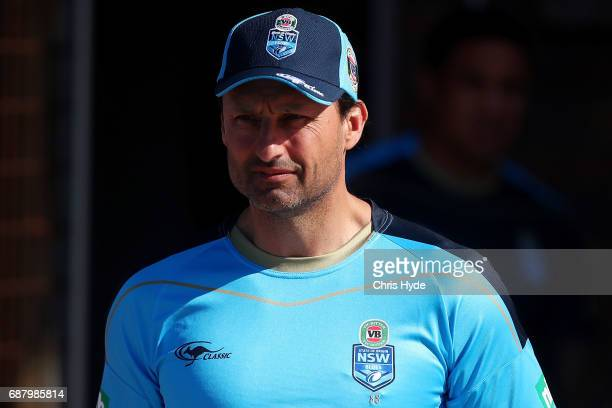 Coach Laurie Daley looks on during a New South Wales Blues State of Origin training session at Cudgen Leagues Club on May 25 2017 in Kingscliff...