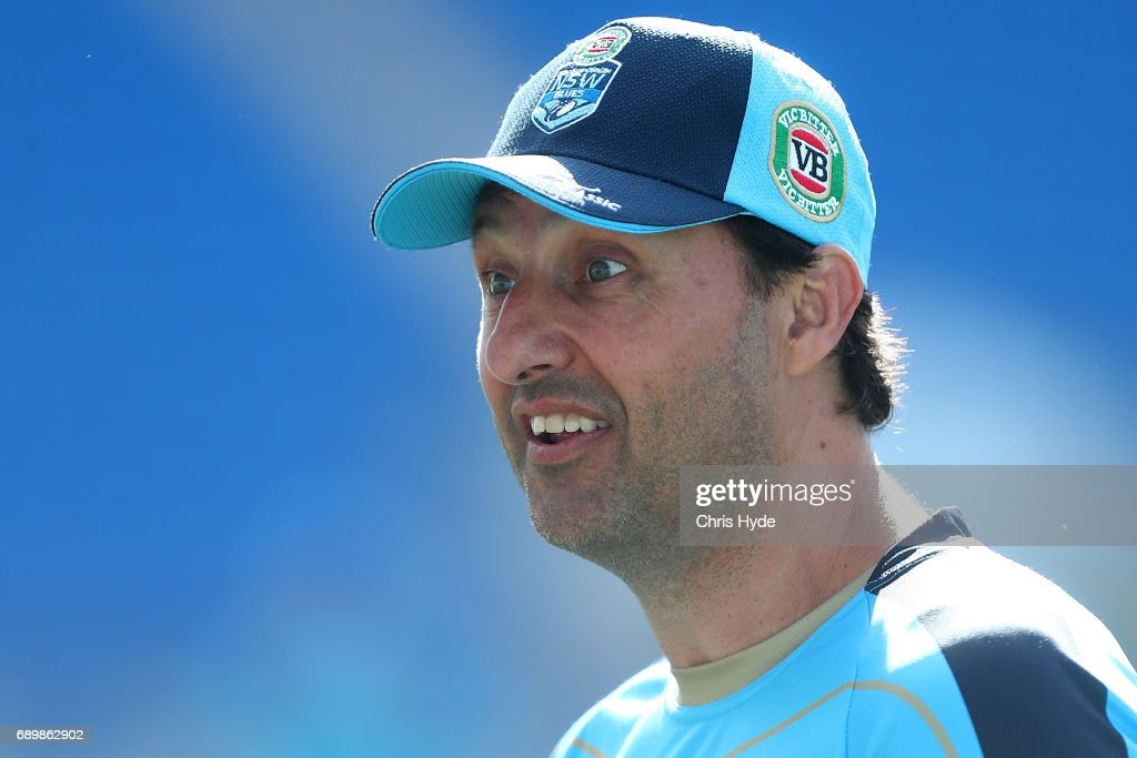 Coach Laurie Daley looks on during the New South Wales Blues State of Origin captain's run at Cbus Super Stadium on May 30, 2017 in Gold Coast, Australia.