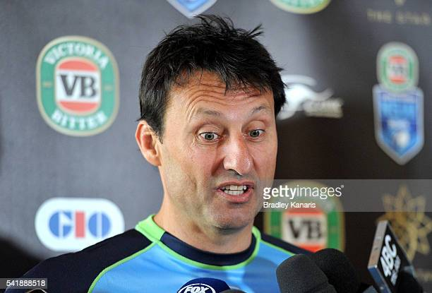 Coach Laurie Daley of New South Wales speaks during a press conference at the Sofitel Hotel on June 21 2016 in Brisbane Australia