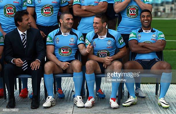 Coach Laurie Daley Robbie Farah Josh Reynolds and Michael Jennings joke around during the New South Wales Blues State of Origin team announcement at...