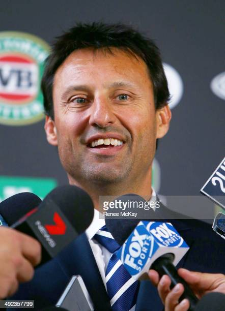 Coach Laurie Daley speaks to the media during the New South Wales Blues State of Origin team announcement at Hilton Sydney on May 20 2014 in Sydney...