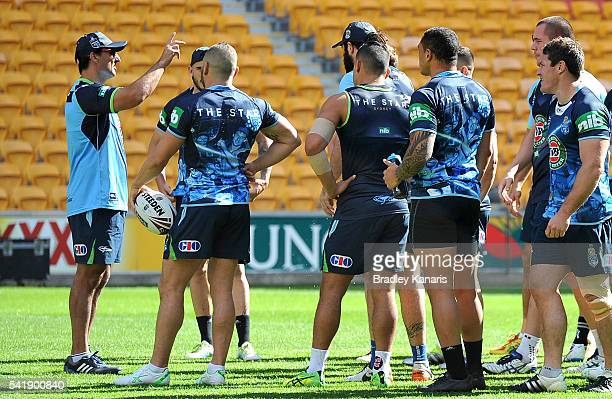 Coach Laurie Daley talks to his players during a New South Wales Blues State of Origin training session at Suncorp Stadium on June 21 2016 in...