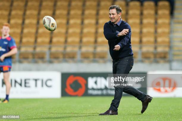 Coach Leon MacDonald of Tasman takes part in a warm up drill during the Mitre 10 Cup Semi Final match between Taranaki and Tasman at Yarrow Stadium...