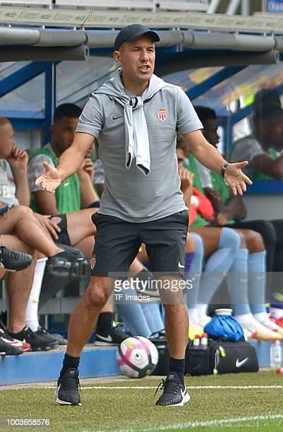coach Leonardo Jardim of Monaco gestures during the Friendly match between SC Paderborn 07 and AS Monaco at BentelerArena on July 21 2018 in...