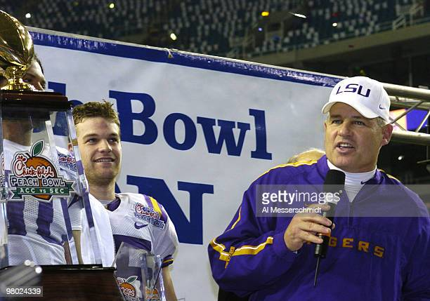 LSU coach Les Miles talks to fans after defeating the University of Miami in the 2005 ChickfilA Peach Bowl at the Georgia Dome in Atlanta Georgia on...
