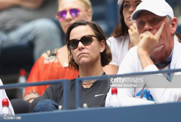 Coach Lindsay Davenport watches Madison Keys of the United States player her women's singles third round match against Aleksandra Krunic of Serbia on...