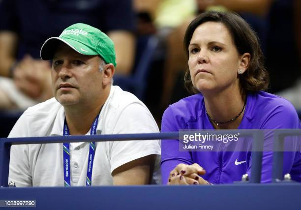 Coach Lindsay Davenport watches the women's singles semifinal match between Madison Keys of the United States and Naomi Osaka of Japan on Day Eleven...