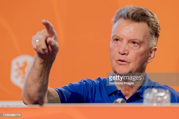 Coach Louis van Gaal of Holland during the Training MenPress Conference Holland at the KNVB Campus on September 3, 2021 in Zeist Netherlands