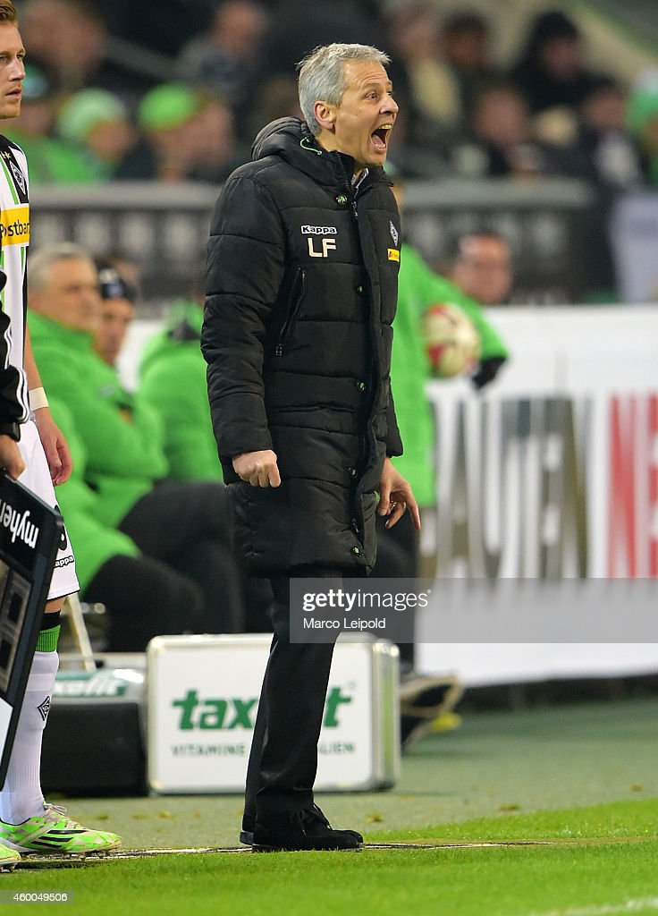 Coach Lucien Favre of Borussia Moenchengladbach reacts during the match between Borussia Moenchengladbach and Hertha BSC on December 6, 2014 in Berlin, Germany.