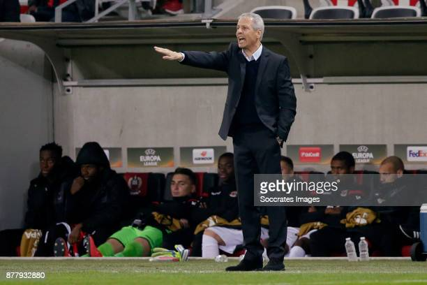 Coach Lucien Favre of Nice during the UEFA Europa League match between Nice v Zulte Waregem at the Allianz Riviera on November 23 2017 in Nice France