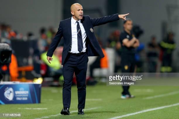 Coach Luigi Di Biagio of Italy U21 during the EURO U21 match between Belgium v Italy at the MAPEI Stadium - Città del Tricolore on June 22, 2019 in...