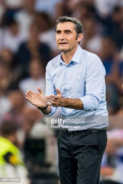 MADRID SPAIN AUGUST 16 Coach Luis Enrique Martinez Garcia of FC Barcelona reacts during their Supercopa de Espana Final 2nd Leg match between Real...