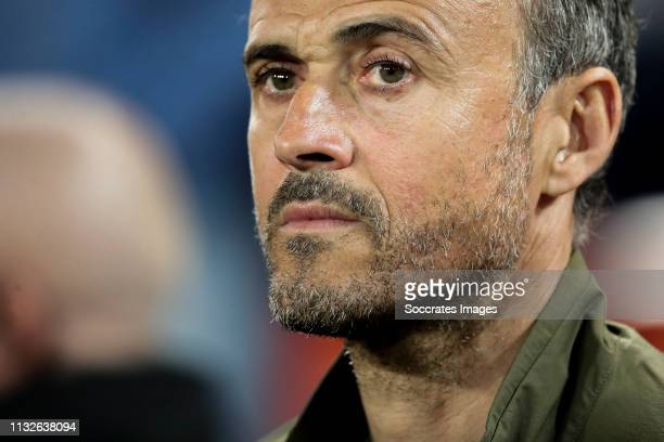 Coach Luis Enrique of Spain during the EURO Qualifier match between Spain v Norway at the Estadio de Mestalla on March 23, 2019 in Valencia Spain