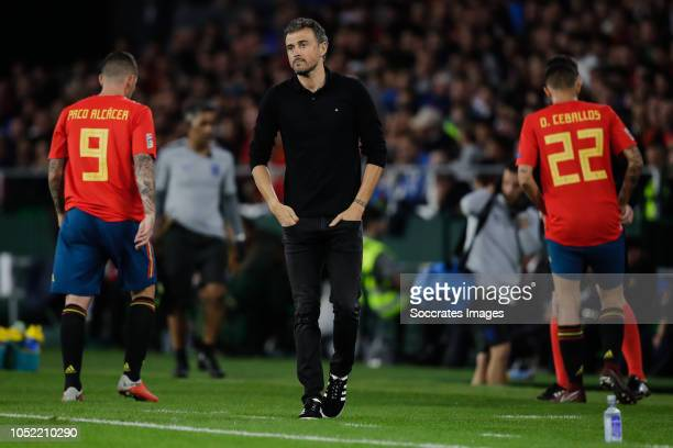 Coach Luis Enrique of Spain during the UEFA Nations league match between Spain v England at the Estadio Benito Villamarin on October 15, 2018 in...