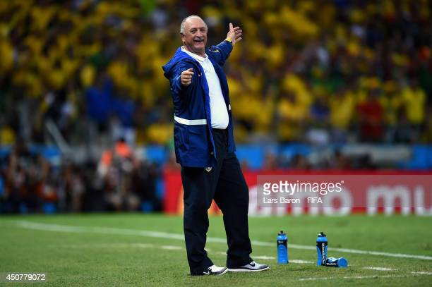 Coach Luiz Felipe Scolari of Brazil gestures during the 2014 FIFA World Cup Brazil Group A match between Brazil and Mexico at Estadio Castelao on...