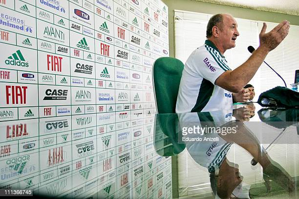 Coach Luiz Felipe Scolari of Palmeiras speaks during a press conference followed by a training session at Academia de Futebol on April 1 2011 in Sao...