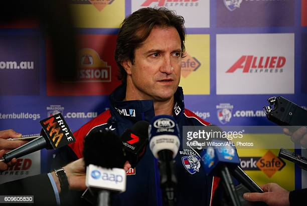 Coach Luke Beveridge speaks to the media during a Western Bulldogs AFL press conference at Whitten Oval on September 22 2016 in Melbourne Australia