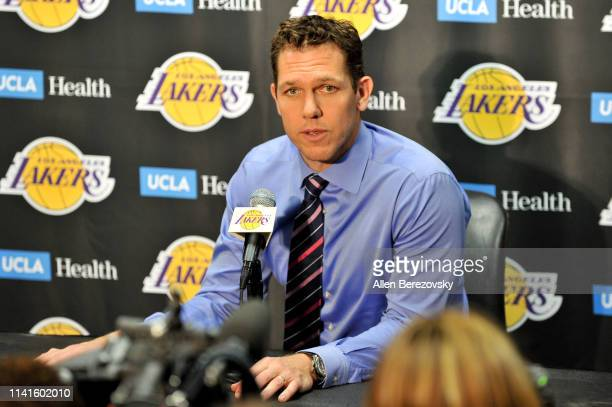 Coach Luke Walton talks to the media after a basketball game of the season between the Los Angeles Lakers and the Portland Trail Blazers at Staples...