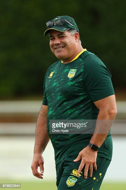 Coach Mal Meninga looks on during an Australian Kangaroos Rugby League World Cup training session at Langlands Park on November 21 2017 in Brisbane...