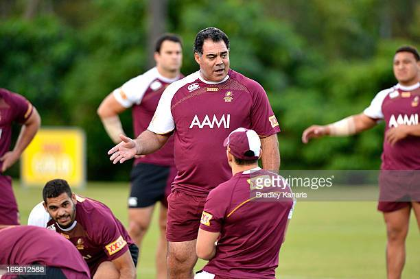 Coach Mal Meninga talks to his players during a Queensland Maroons State of Origin training session at Palmer Resort Coolum on May 29 2013 in...
