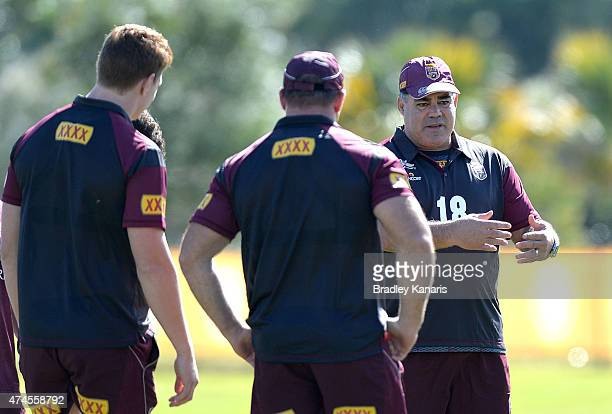 Coach Mal Meninga talks to his players during the Queensland Maroons State of Origin training session at Sanctuary Cove on May 24 2015 in Brisbane...