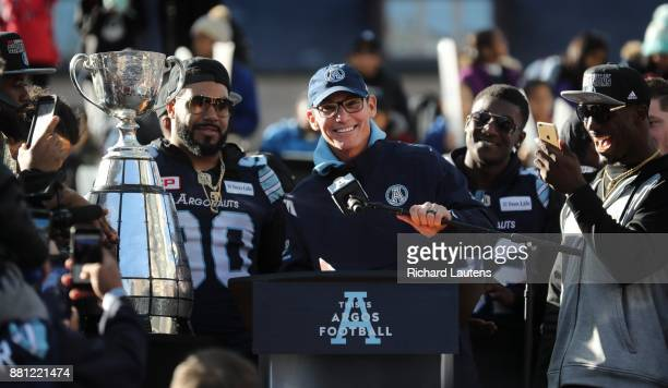 TORONTO ON NOVEMBER 28 Coach Marc Trestman speaks to the crowd The Toronto Argonauts football club celebrated their Grey Cup victory over the Calgary...