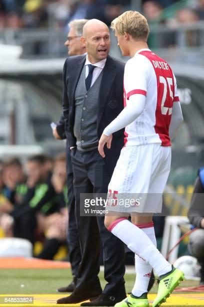 coach Marcel Keizer of Ajax Kasper Dolberg of Ajax during the Dutch Eredivisie match between ADO Den Haag and Ajax Amsterdam at Car Jeans stadium on...